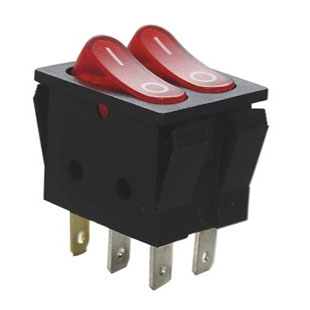 کلید راکر دوتایی چراغدار شش پایه