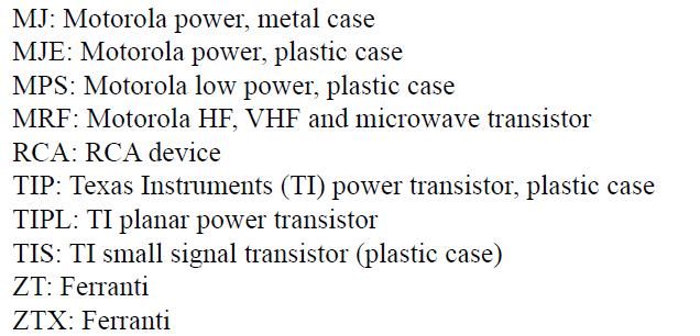 نام گذاری ترانزیستور ها