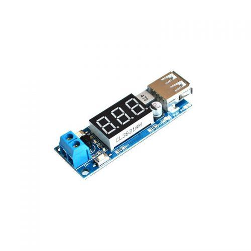 ماژول کاهنده 2 آمپر با نمایشگر و یو اس بی USB