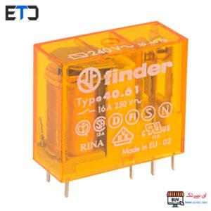 رله فیندر 230 ولت AC دو کنتاکت 16 آمپر (Finder(40.61