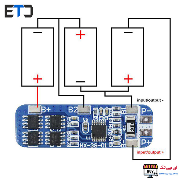 ماژول محافظ و شارژ و دشارژ باتری های لیتیومی 3 سل 10 آمپر با آی سی بالانسر 3S-10A